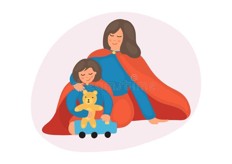 Moder med dotterlek i superherodräkt stock illustrationer