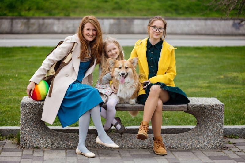 moder med hennes döttrar och hund på parkera royaltyfria foton