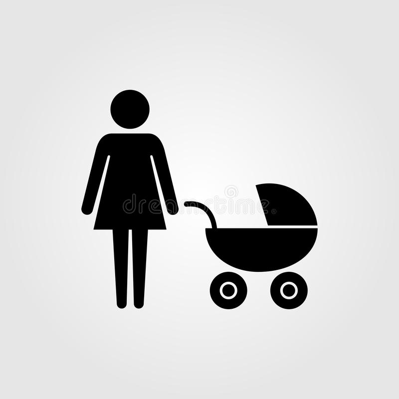 Moder med pramsittvagnsymbolen stock illustrationer