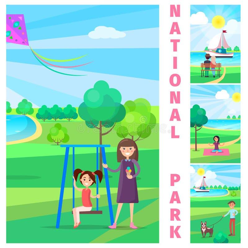Moder nära dotter på gunga i nationalpark vektor illustrationer