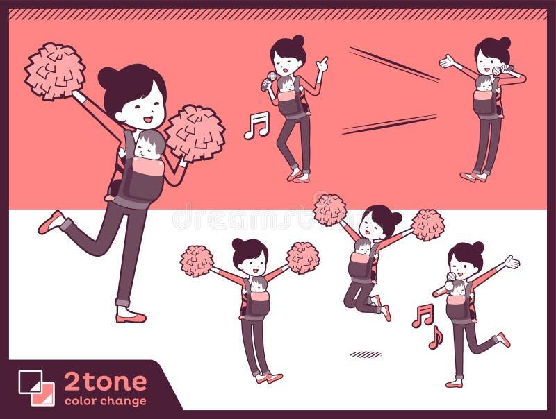 moder och baby_set 07 för typ 2tone royaltyfri illustrationer