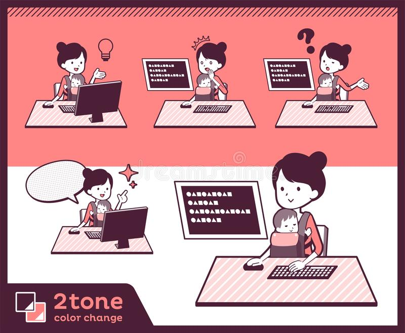 moder och baby_set 04 för typ 2tone royaltyfri illustrationer