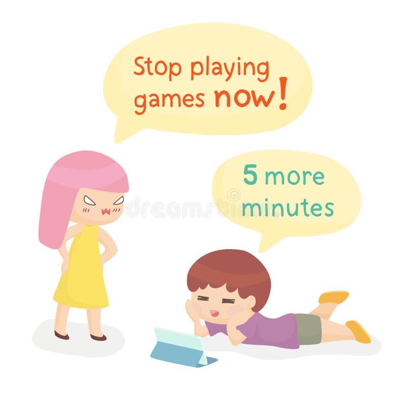 Moder och barn som missbrukas till leken stock illustrationer