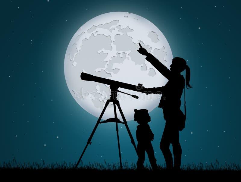 Moder och barn som ser himlen med teleskopet stock illustrationer