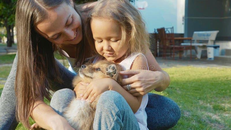 Moder och barn som spelar med valpen på varm en utomhus- sommardag royaltyfria bilder