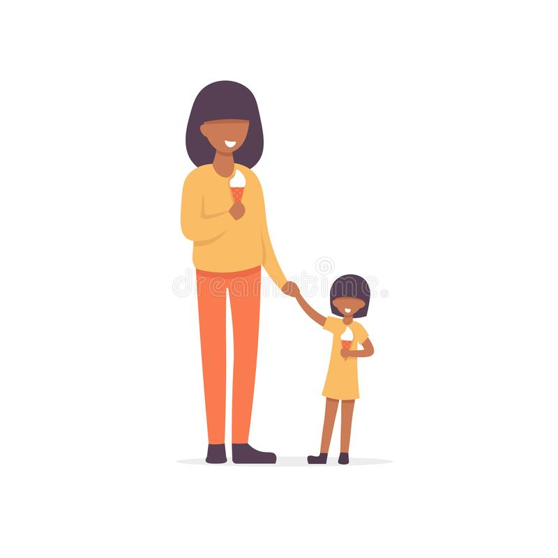 Moder och dotter att äta glass stock illustrationer