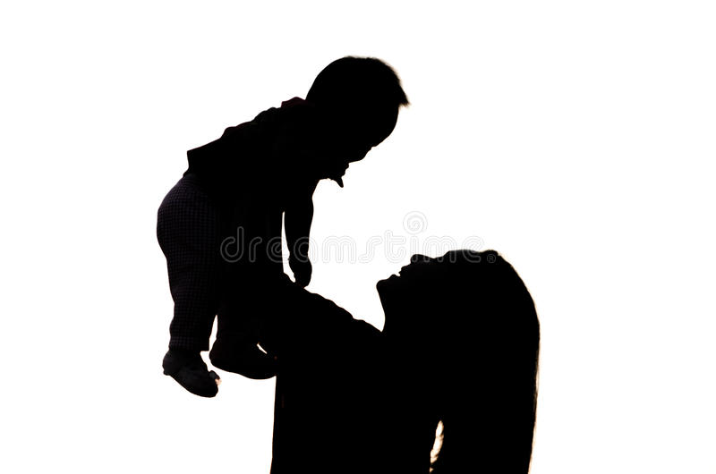 Moder och dotter i kontur. royaltyfria bilder
