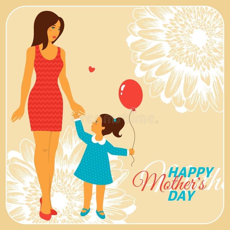 Moder och dotter med lycklig moderdag stock illustrationer