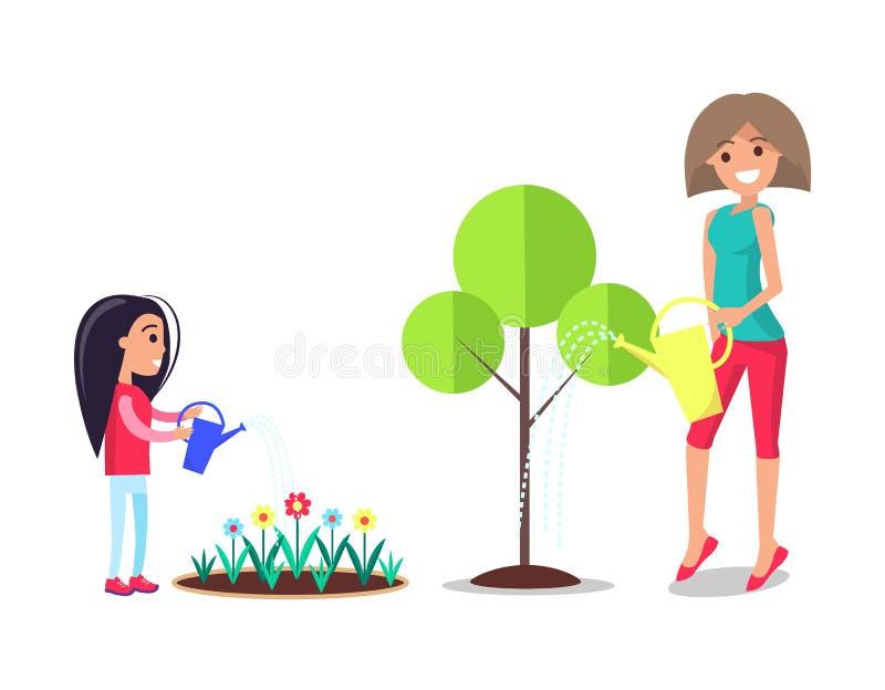Moder och dotter som arbetar i trädgårds- bevattna för mamma stock illustrationer