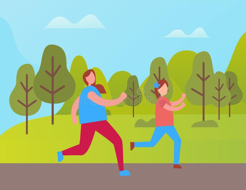 Moder och dotter som joggar i den Green Park vektorn stock illustrationer