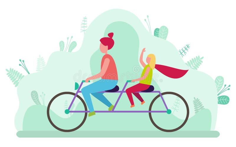 Moder och dotter som rider den dubbla cykelvektorn stock illustrationer