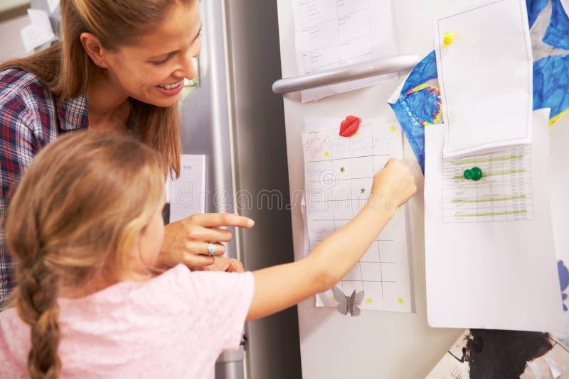 Moder och dotter som sätter stjärnan på belöningdiagram arkivfoto