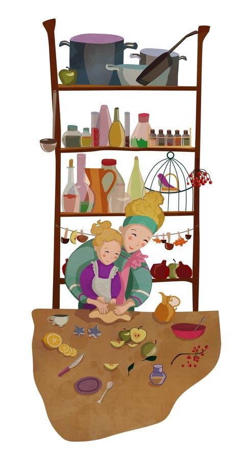 Moder och dotter som tillsammans lagar mat och bakar vektor illustrationer
