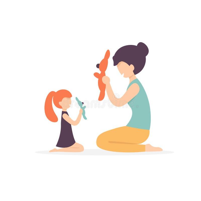 Moder- och dotterlek med leksaken royaltyfri illustrationer