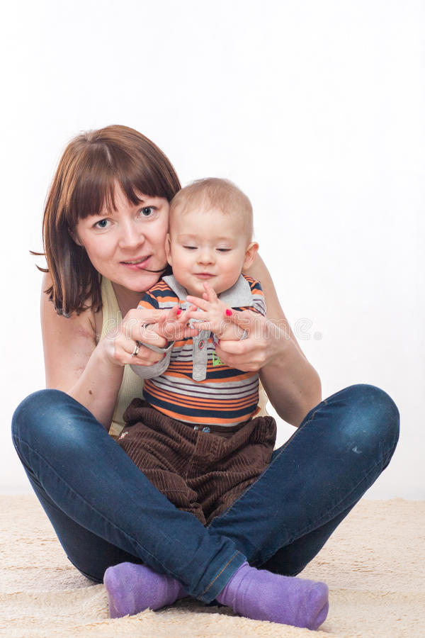 Moder och son arkivbilder