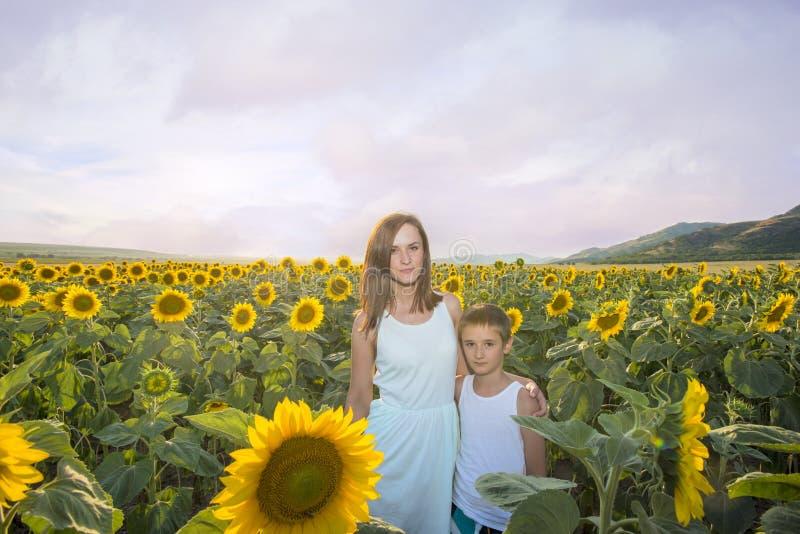 Moder och son i solrosfältet arkivbilder