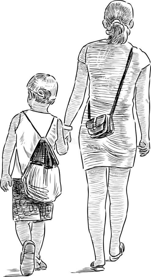 Moder och son på en promenad royaltyfri illustrationer