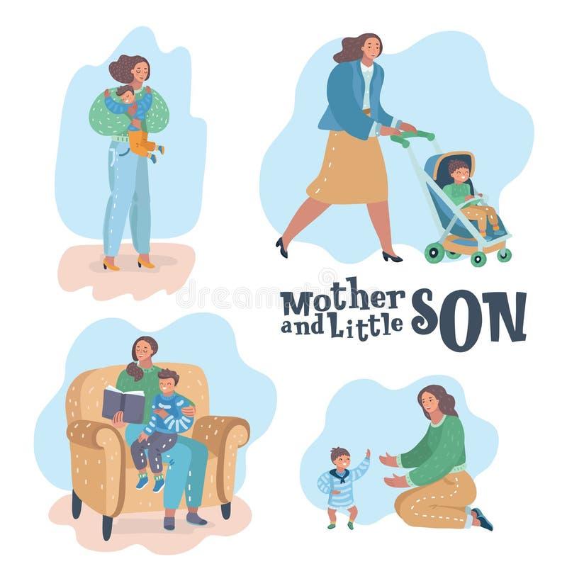 Moder- och sonplatser royaltyfri illustrationer