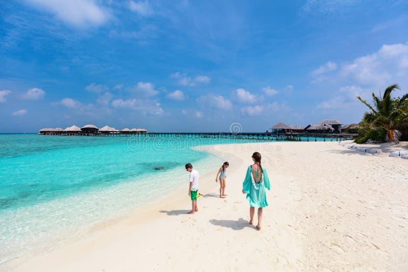 Moder och ungar på den tropiska stranden arkivfoton