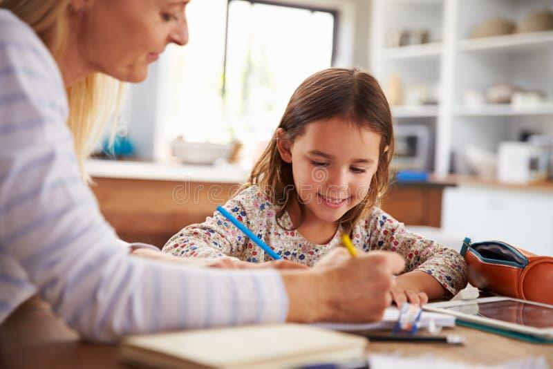 Moder som hemma undervisar hennes dotter royaltyfri fotografi