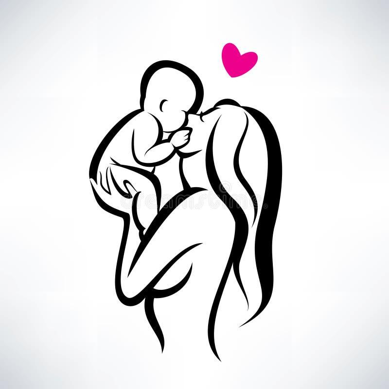 Moder som kysser hennes barn vektor illustrationer