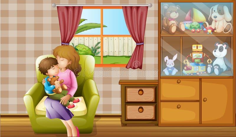 Moder som kysser hennes son i huset stock illustrationer