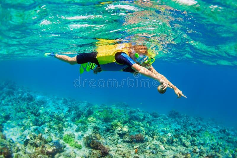 Moder unge, i att snorkla maskeringsdyken som är undervattens- med tropiska fiskar arkivfoton