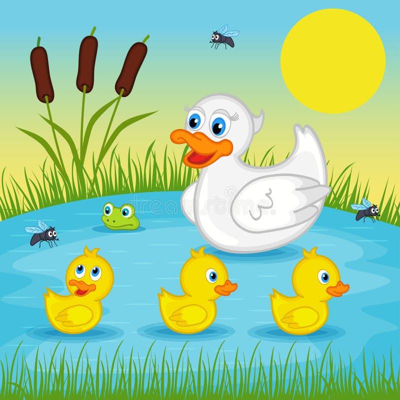 Moderand med ankungar på sjön stock illustrationer