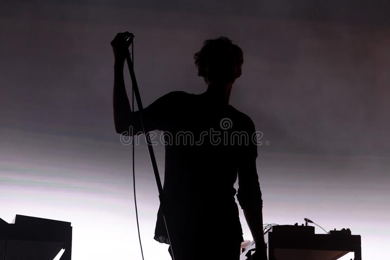 Moderat electronic band perform in concert at Sonar Festival. BARCELONA - JUN 16: Moderat electronic band perform in concert at Sonar Festival on June 16, 2017 royalty free stock photo