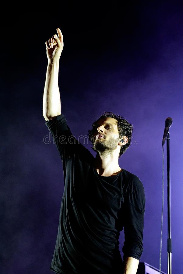 Moderat electronic band perform in concert at Sonar Festival. BARCELONA - JUN 16: Moderat electronic band perform in concert at Sonar Festival on June 16, 2017 stock image