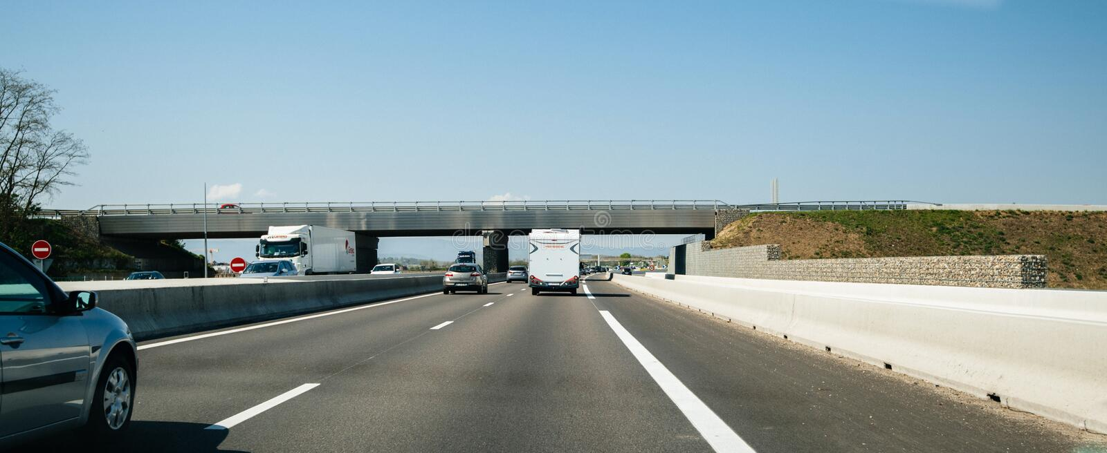 Moderate traffic on French highway with cars royalty free stock photo