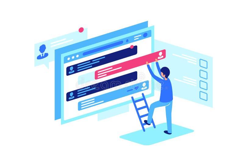 Moderator s work, correction of forum posts. vector illustration