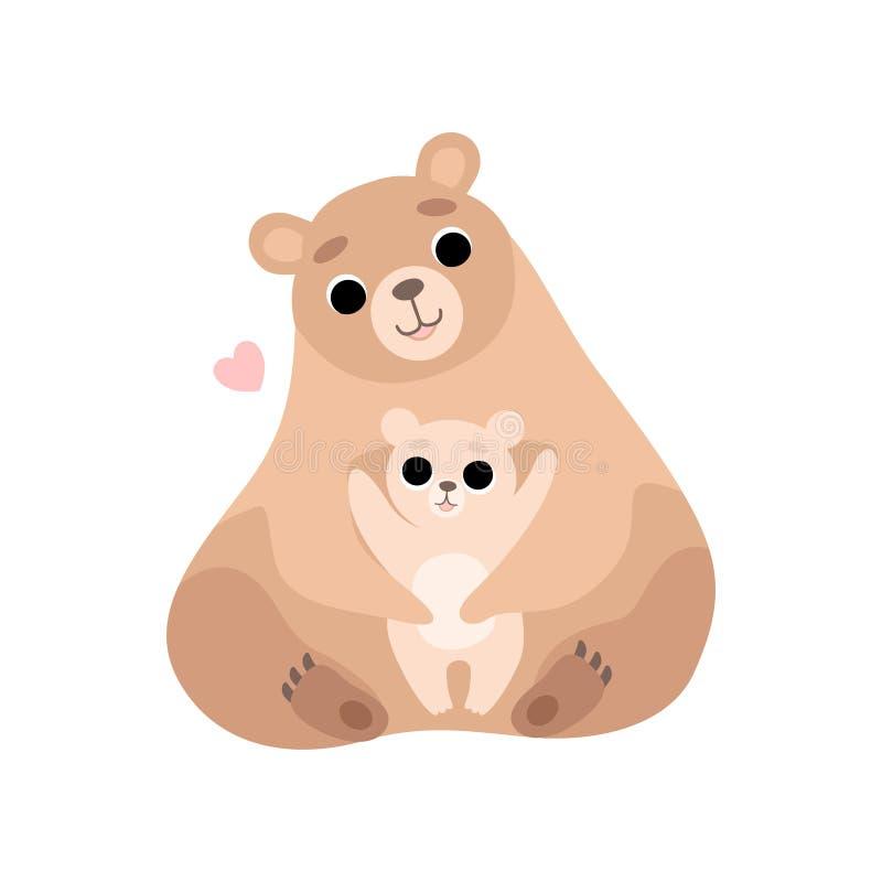 Moderbjörnen och dess behandla som ett barn, gulliga Forest Animal Family Vector Illustration vektor illustrationer