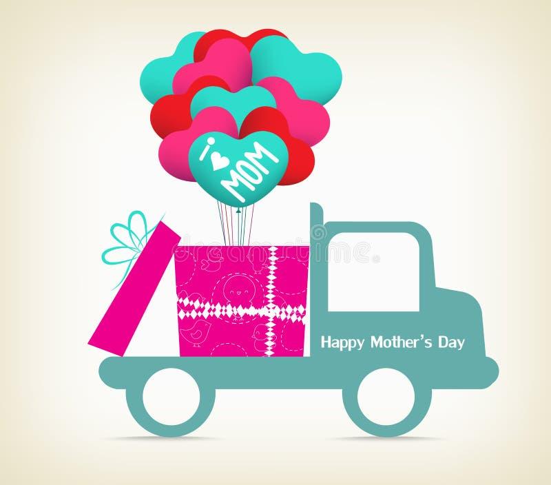 Moderdag med en gåva på bilen royaltyfri illustrationer