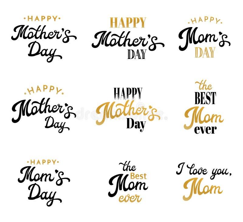 Moderdag som märker den Calligraphic emblem och emblemuppsättningen på vit Lycklig moderdag bästa mammainskrift för Thr vektor illustrationer