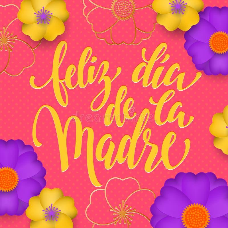 Moderdagen i spanskt hälsningkort av den röda blommamodellen och guld smsar Feliz diameter de la Madre Blom- rosa bakgrund för ve royaltyfri illustrationer