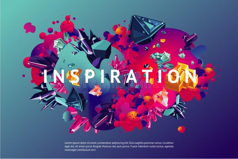 Moderiktig affisch för inspiration Presentationsräkningsmall med abstrakta former och kristallen Modern organisk yttersida med royaltyfri illustrationer