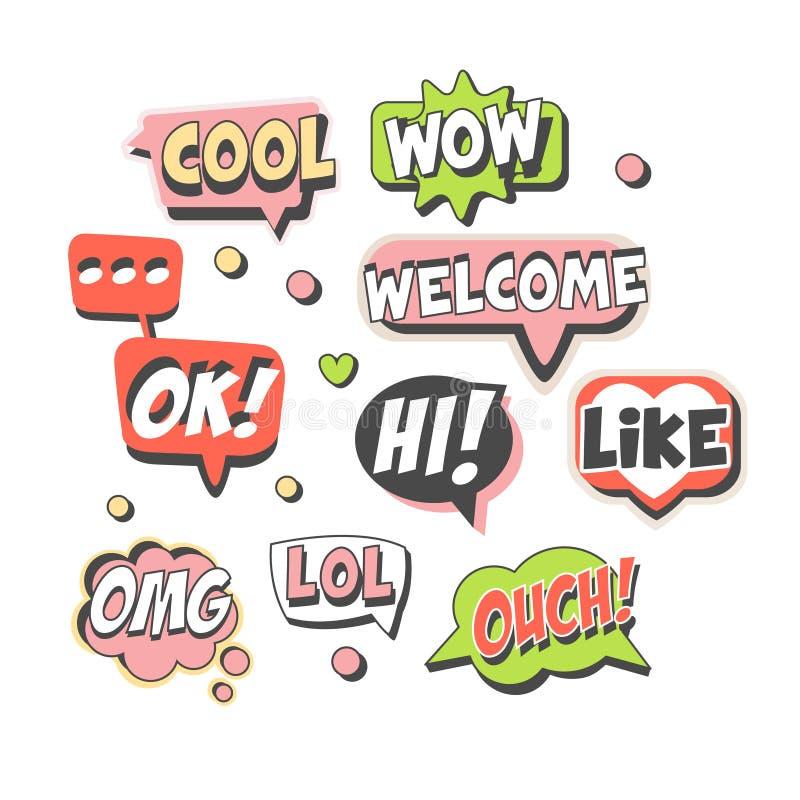 Moderiktig anförandebubblauppsättning för etikettdesign Anförande bubblar med korta meddelanden Detaljerade illustrationer för fä vektor illustrationer