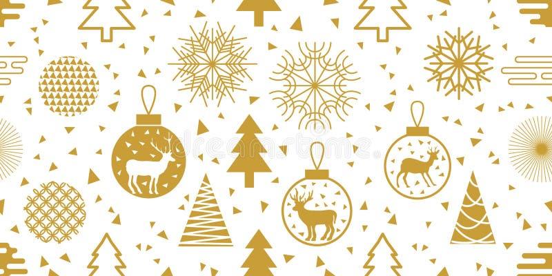 Moderiktig bakgrund för nytt år Sömlös vektormodell med granträd, julbollar, snöflingor och abstrakta geometriska beståndsdelar vektor illustrationer