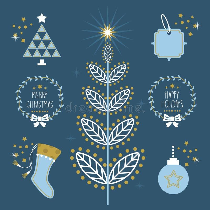 Moderiktig blå jul semestrar plana symboler, och symboler ställer in vektor illustrationer