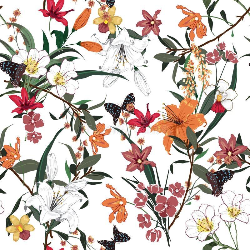 Moderiktig blom- modell i många sort av blommor Tropisk bot stock illustrationer