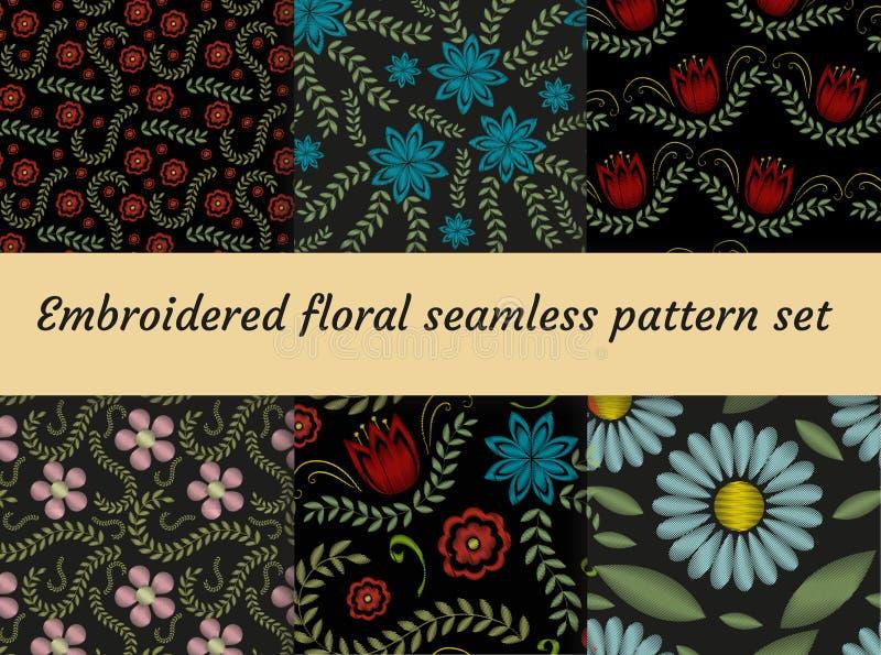 Moderiktig blom- sömlös modell för broderi Blommor smyckar ändlös bakgrund, textur också vektor för coreldrawillustration royaltyfri illustrationer