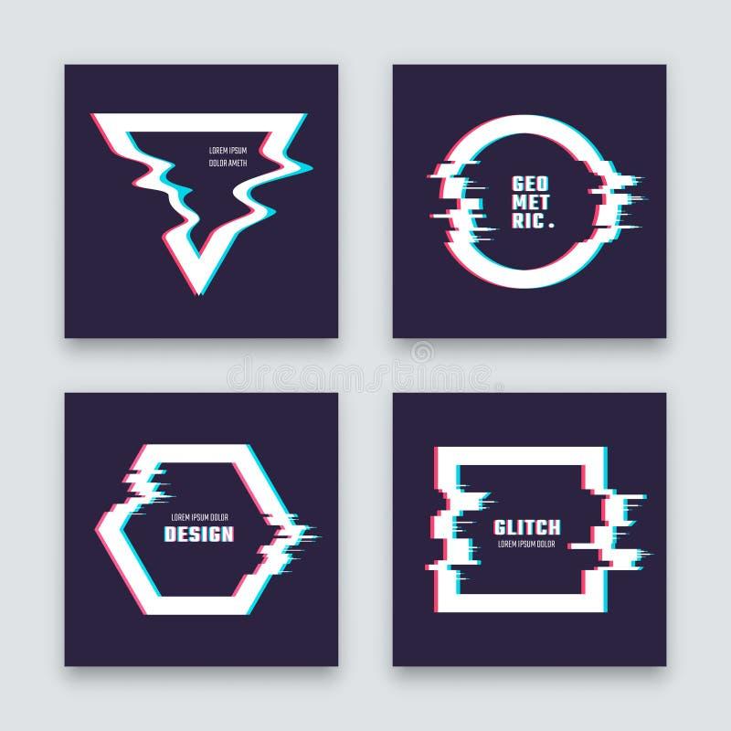 Moderiktig design för minimalistabstrakt begreppvektor med glitched geometriska former Samling för affisch för märkesbild vektor illustrationer