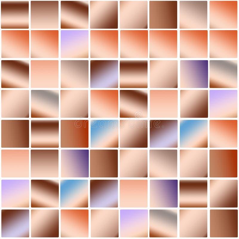 Moderiktig färgrik banerdesign för pastellfärgad brun fyrkantig mosaik royaltyfri illustrationer