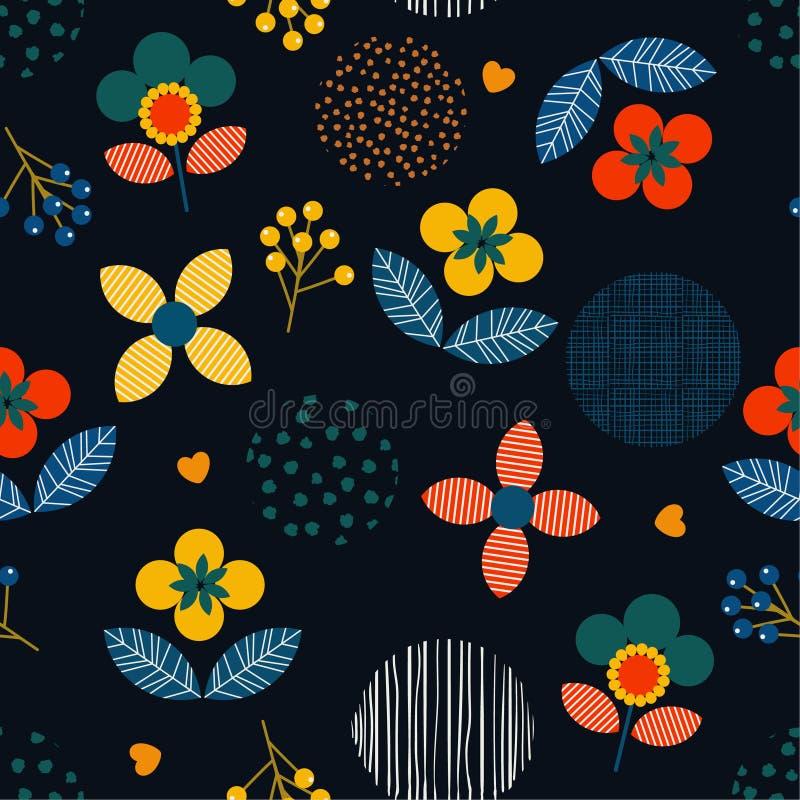 Moderiktig färgrik geometrisk blom- och handmålarfärgprick och li stock illustrationer