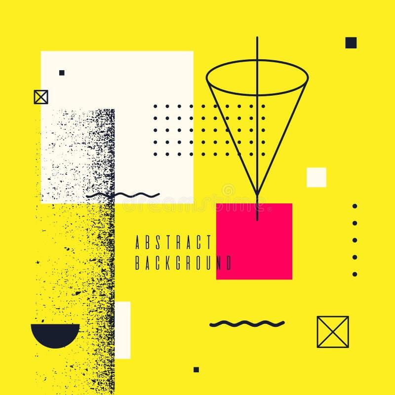Moderiktig geometrisk bakgrund för abstrakt konst med lägenheten, minimalistic Memphis stil Idérikt akvarium med lilla goldfis stock illustrationer