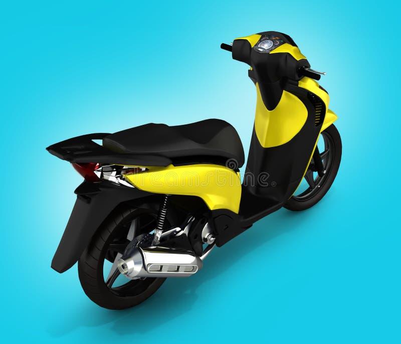 Moderiktig gul sparkcykel på blå lutningbakgrund 3d vektor illustrationer