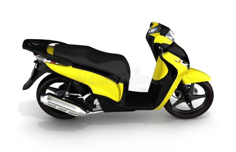 Moderiktig gul sparkcykel på vit bakgrund 3d royaltyfri illustrationer