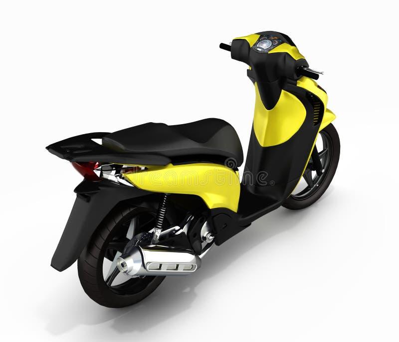 Moderiktig gul sparkcykel på vit bakgrund 3d stock illustrationer