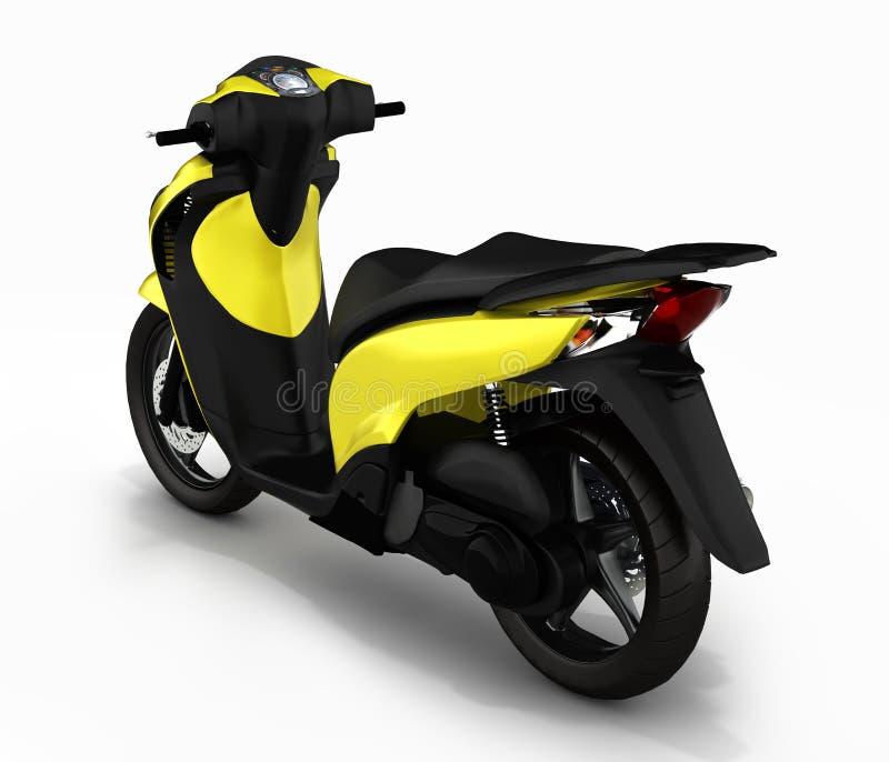 Moderiktig gul sparkcykel på vit bakgrund 3d att framföra royaltyfri illustrationer